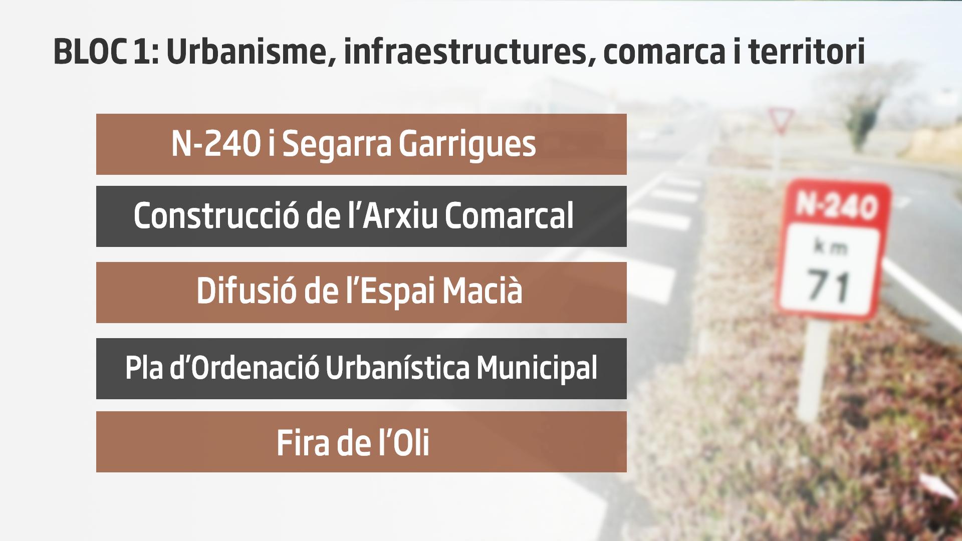 BLOC 1: Urbanisme, infraestructures, comarca i territori