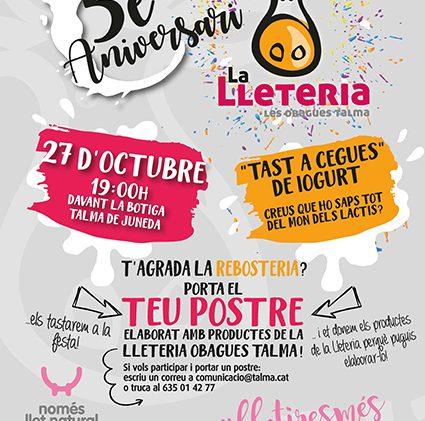 La Lleteria Obagues Talma celebra els 5 anys de projecte amb una festa oberta a Juneda