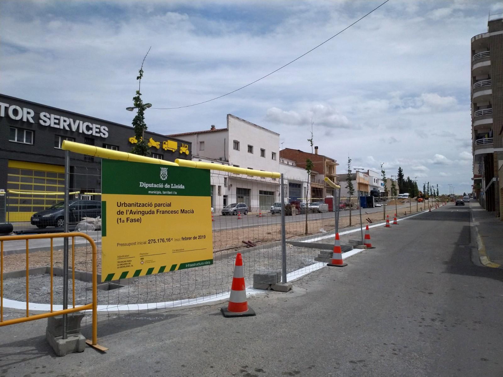Les obres de reforma de l'Avinguda Francesc Macià de les Borges arriben al 75% d'execució