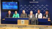 Els participants a la roda de premsa de presentació de ña 17a Cursa de l'Oli a la Diputació de Lleida