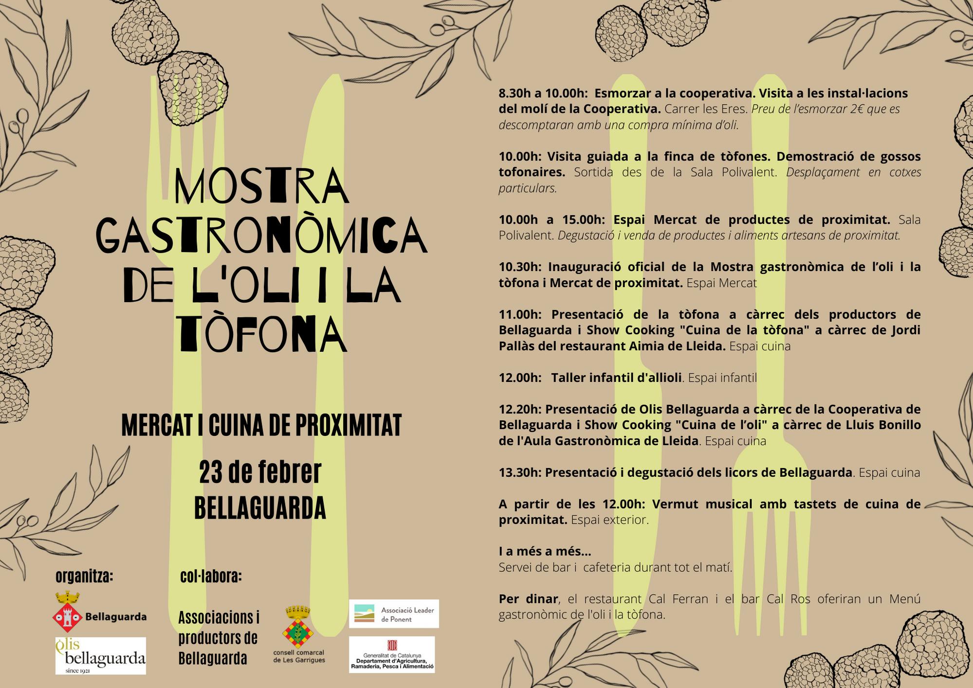 Bellaguarda acollirà la 1a Mostra Gastronòmica de l'Oli i la Tòfona