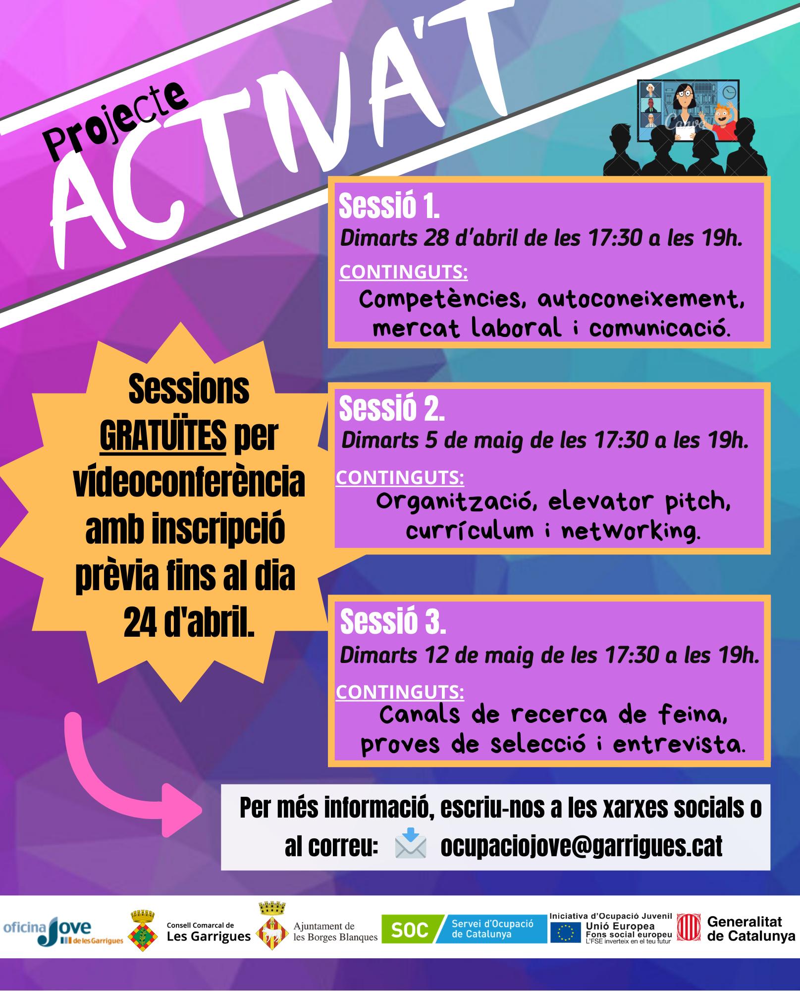 L'Oficina Jove de les Garrigues posa en marxa el projecte Activa't amb sessions telemàtiques gratuïtes sobre competències laborals