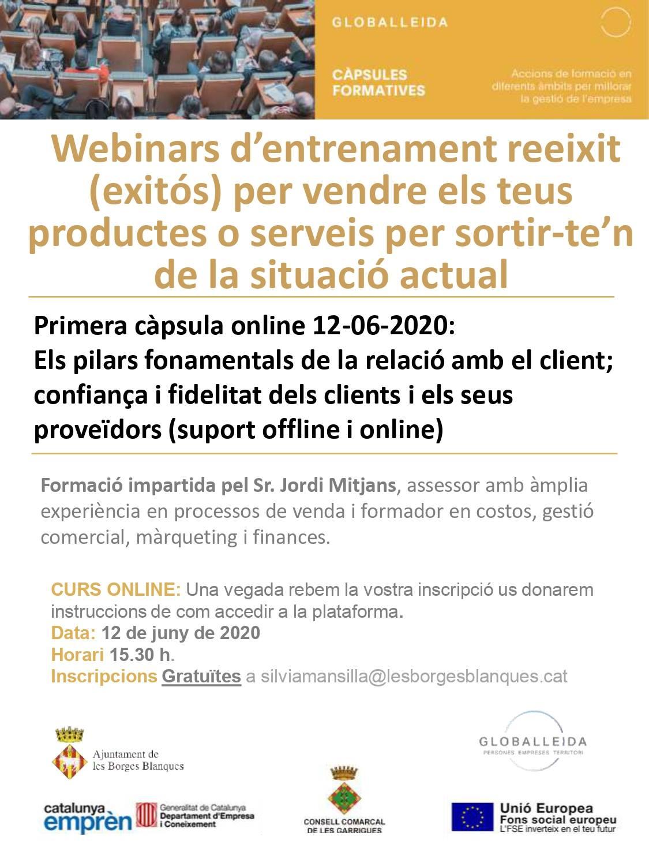 El CEI de les Borges reprèn les formacions gratuïtes per a persones emprenedores de manera telemàtica