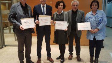 Els representants de les Borges, Bell-lloc, Mollerussa i Lleida, recollint el Segell Infoparticipa l'any 2019