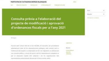 Captura de pantalla de la consulta prèvia sobre les ordences fiscal 2021 de les Borges
