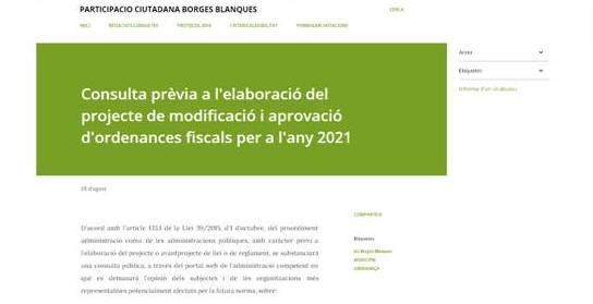 Les Borges està duent a terme una consulta prèvia a l'elaboració i modificació de les ordenances fiscals per a l'any 2021