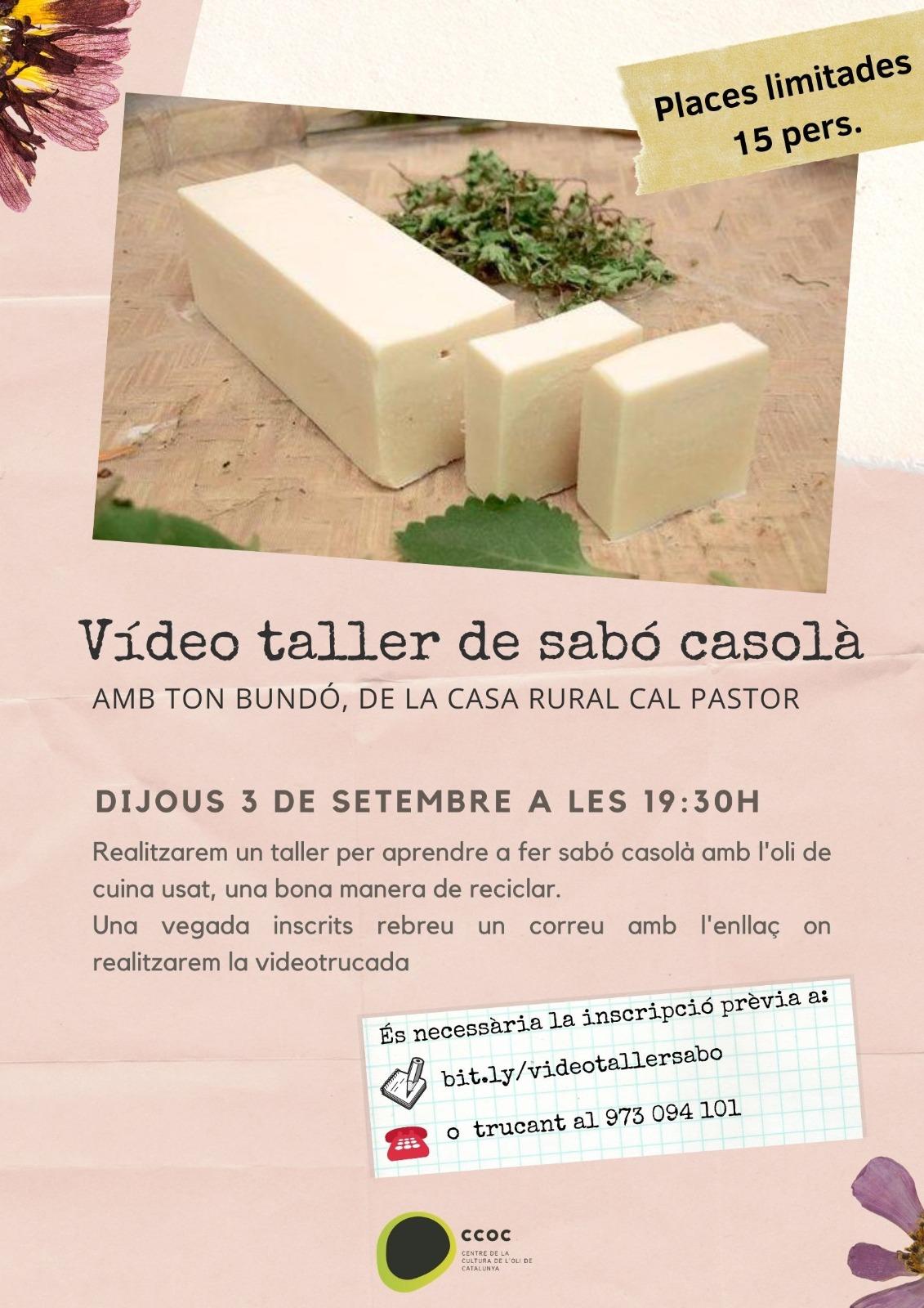 El Centre de l'oli de la Granadella organitza un taller virtual per reciclar l'oli d'oliva usat  fent sabó casolà