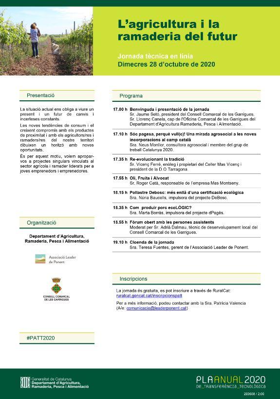 Jornada tècnica en línia 'L'agricultura i la ramaderia del futur'