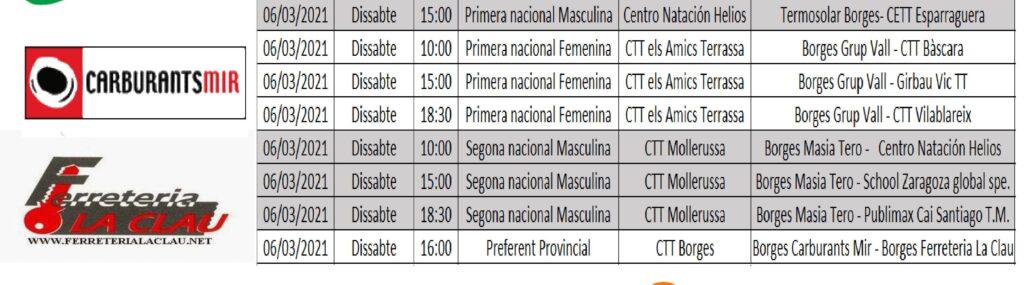 Aquest cap de setmana inicien la lliga de la temporada 20/21 diversos equips del CTT Borges